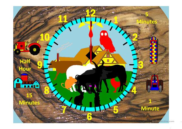 Farm Clock Hour and Minutes Variable