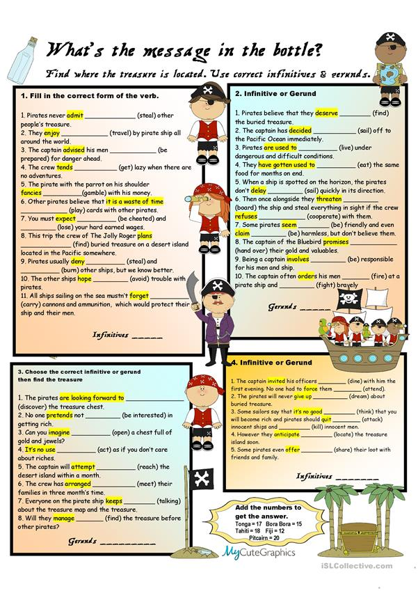 Gerunds OR Infinitives Review (Pirate Theme)
