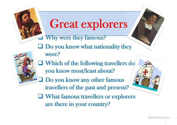 Great Explorers guessing game.
