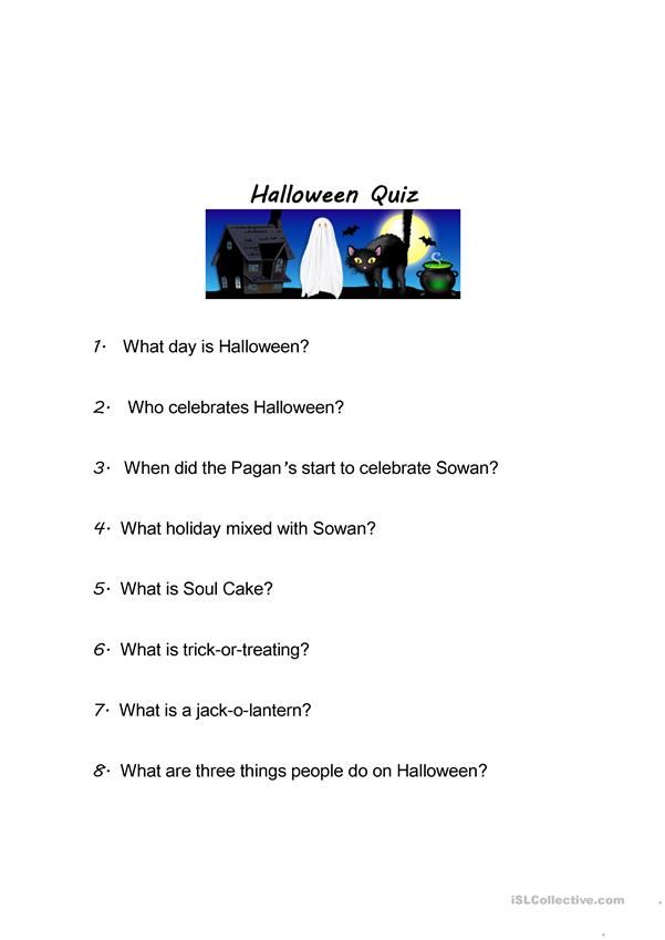 Halloween running dictation story and Quiz