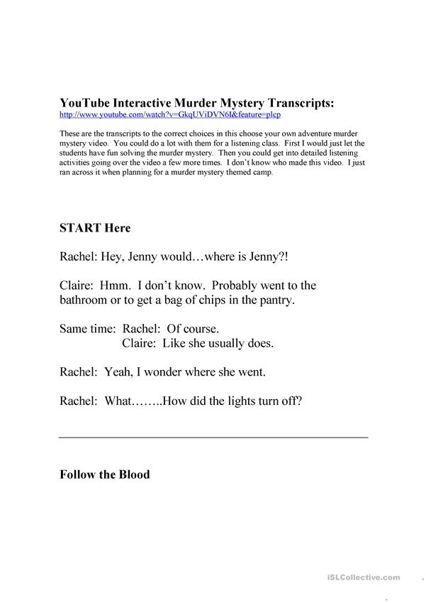 Interactive youtube Murder Mystery Transcripts
