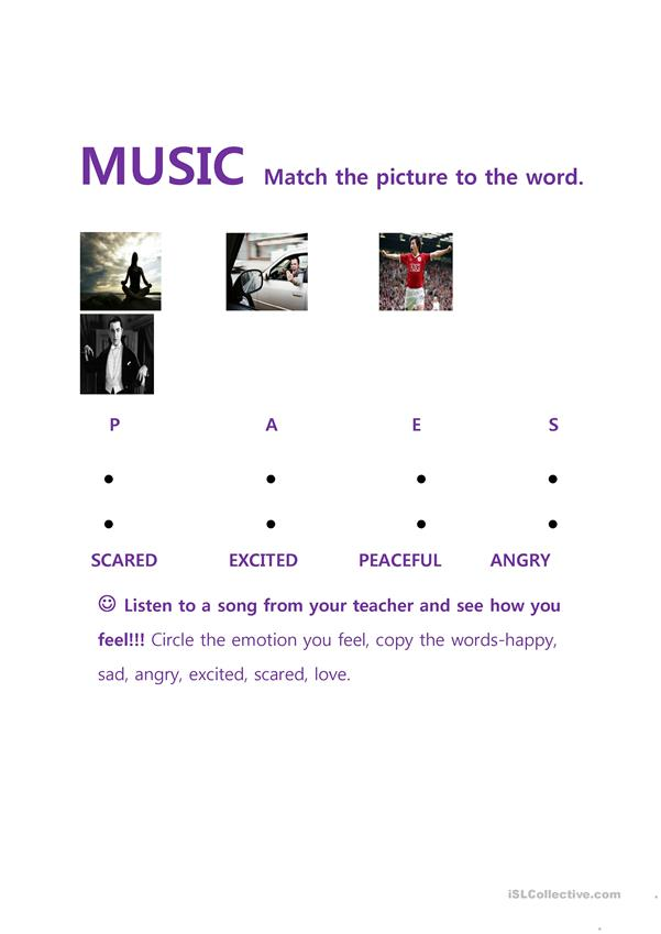 Music and Emotions Vocabulary