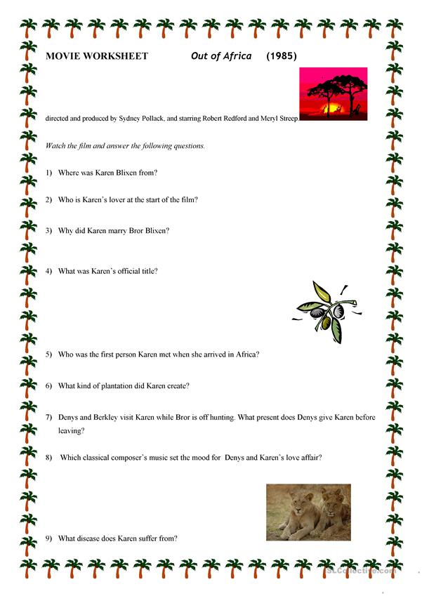 OUT OF AFRICA MOVIE WORKSHEET
