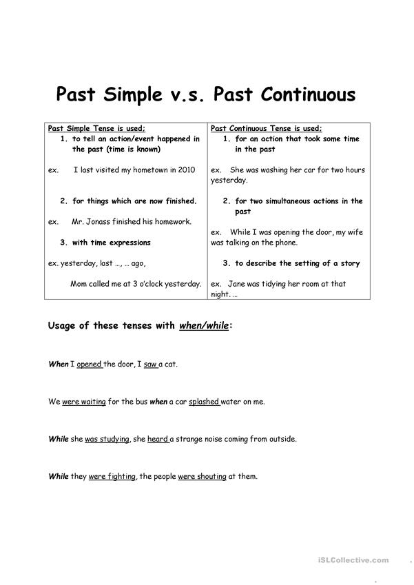 Past Simple Past Continunouns
