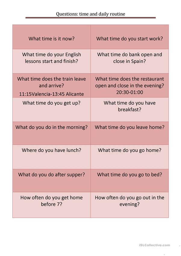 questions: time and daily routine