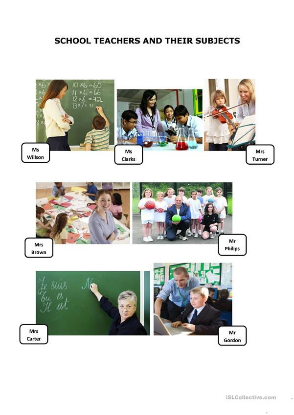 School teachers and their subjects (3 pages)