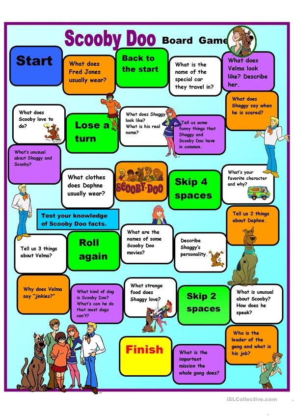 Scooby Doo Speaking Practice Boardgame + Fact Sheet