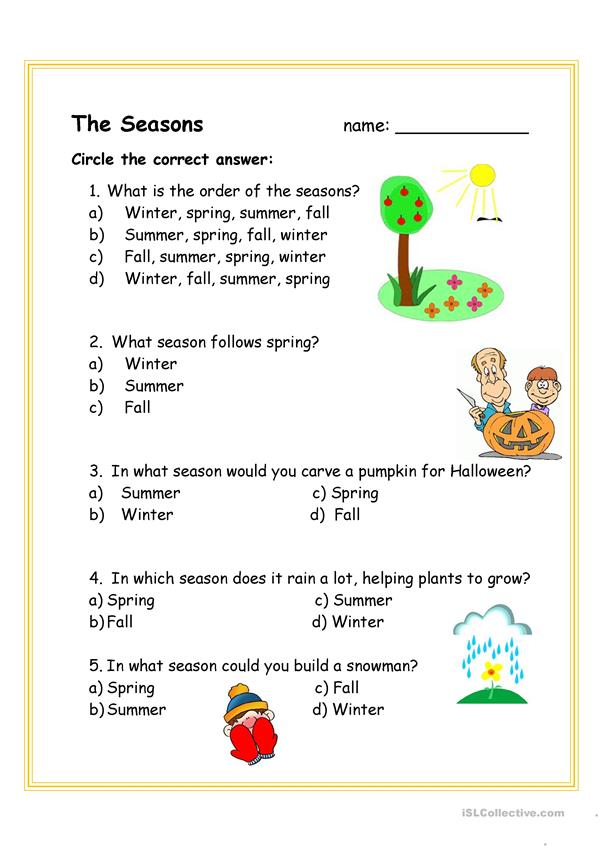 Seasons song and question sheet