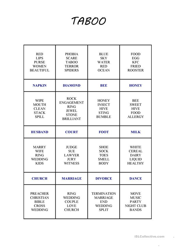 image relating to Taboo Game Cards Printable named Taboo Card Activity 2 - English ESL Worksheets