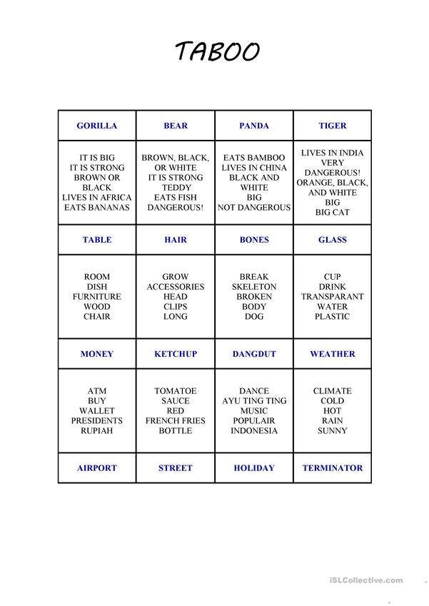 photograph relating to Taboo Cards Printable called Taboo Card Recreation 2 - English ESL Worksheets