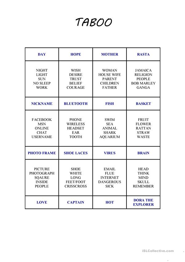 picture about Taboo Game Cards Printable referred to as Taboo Card Video game 2 - English ESL Worksheets