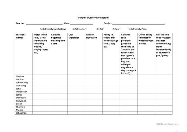 Teacher Observation Sheet