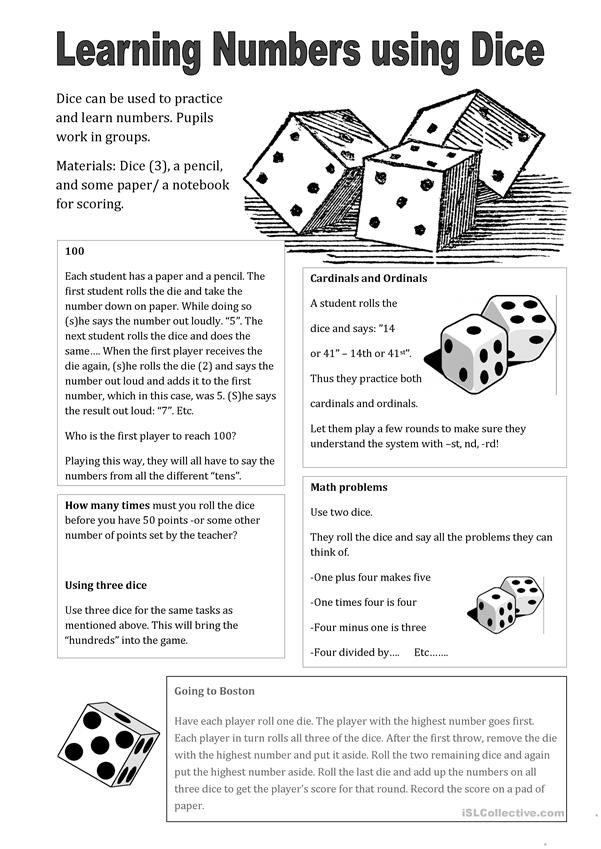 Use Dice to Learn Numbers