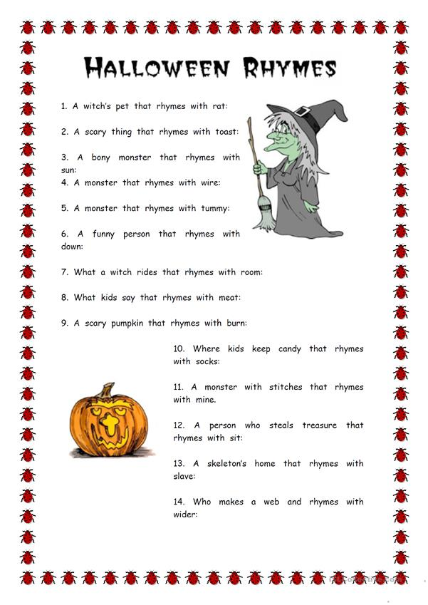 Vocabulary work-Halloween rhymes