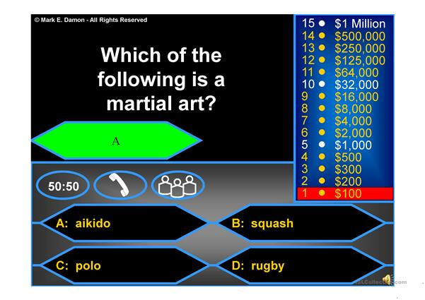 Who wants to be a millionaire - sport