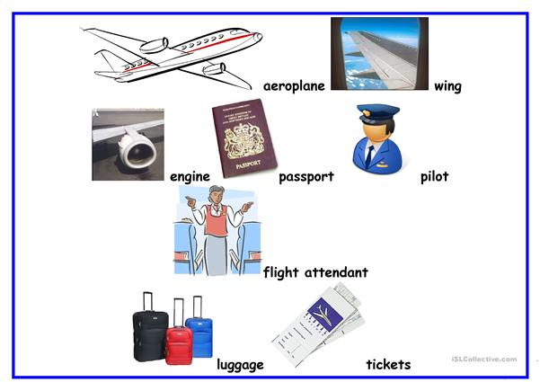 Word mat aeroplane vocabulary
