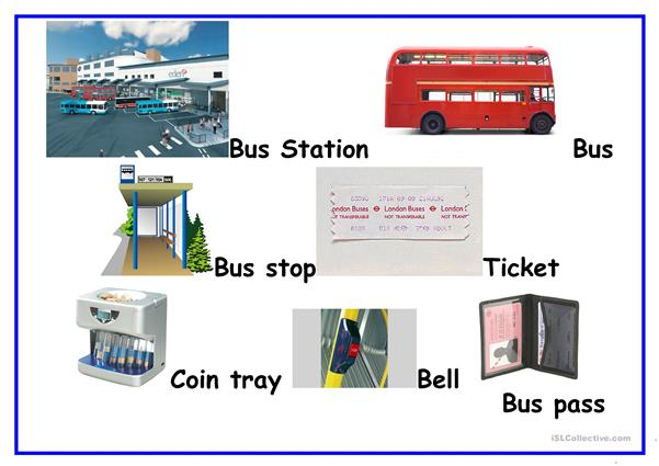 Word mat bus vocabulary