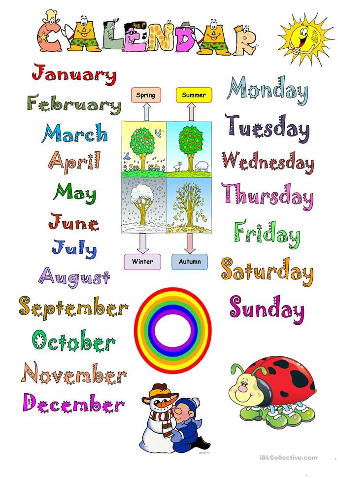 Calendar Ideas For Elementary : Calendar worksheet free esl printable worksheets made by