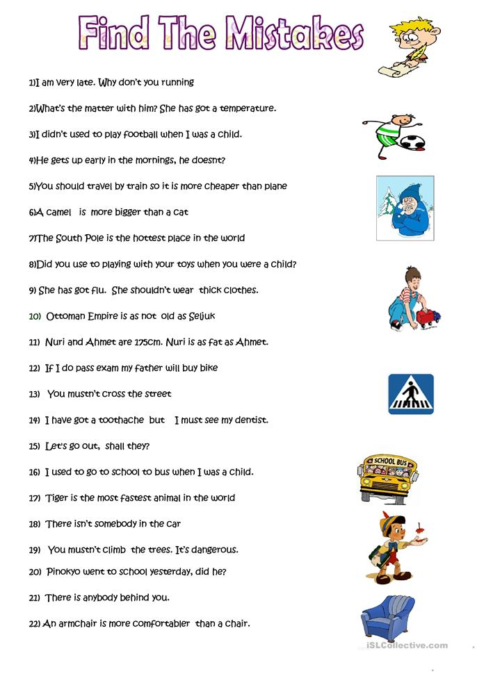 Worksheets Correct Grammar Worksheets 15 free esl correct the mistakes worksheets mistakes