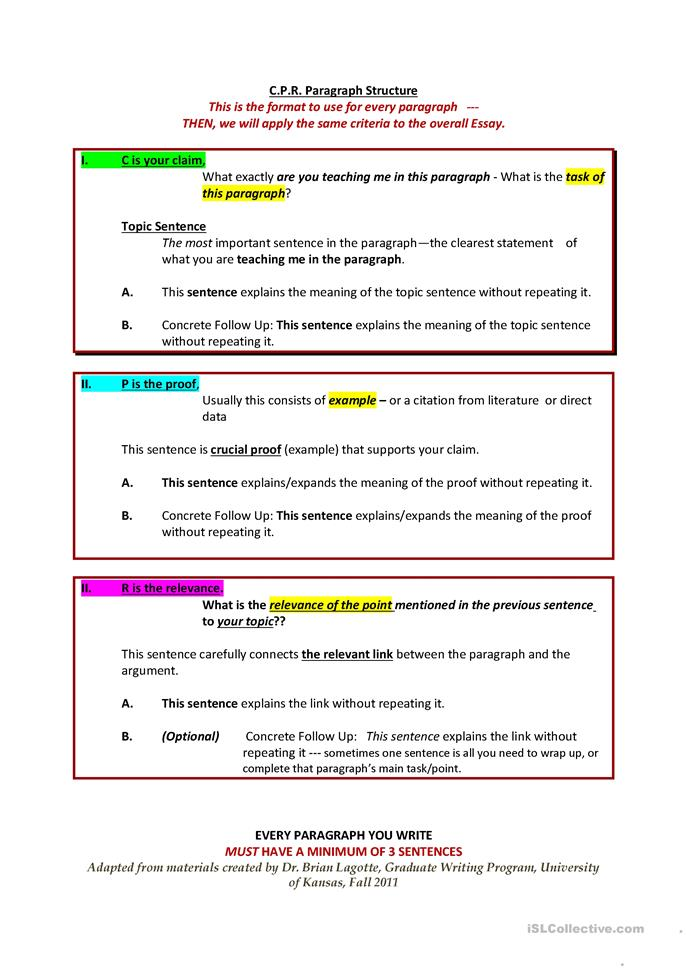 worksheets for essay structure