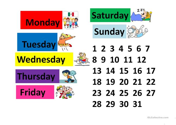 Number Names Worksheets days of the week exercises : 18 FREE ESL Days of the week Powerpoint presentations, exercises