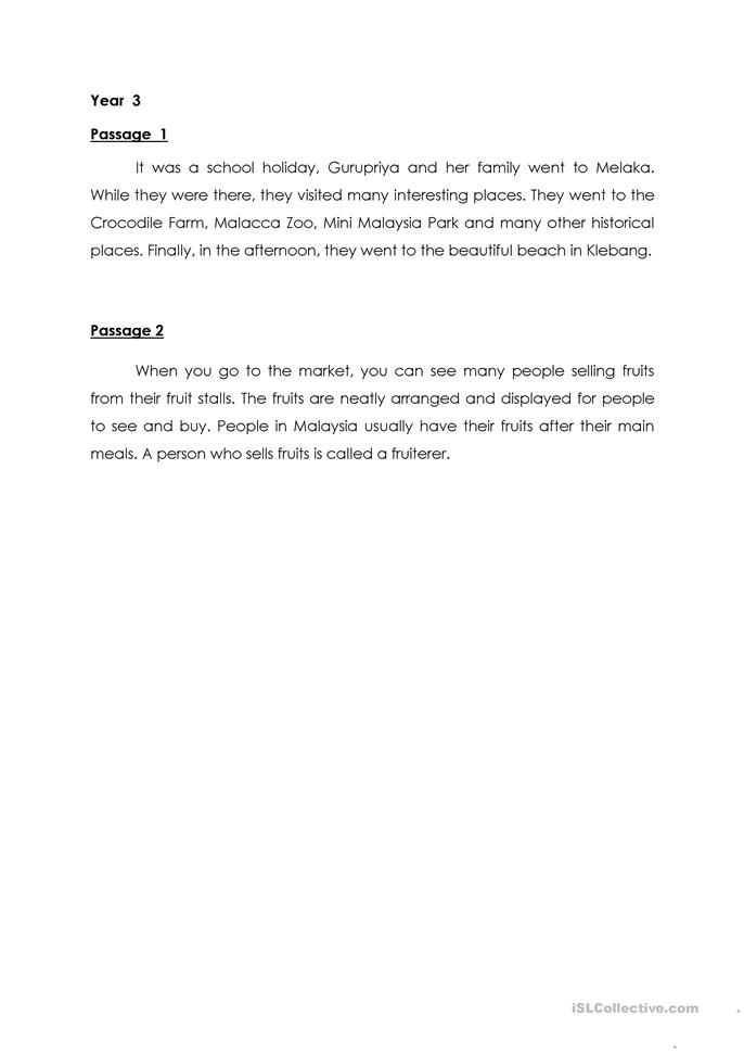 dictation passages for grade 6 pdf