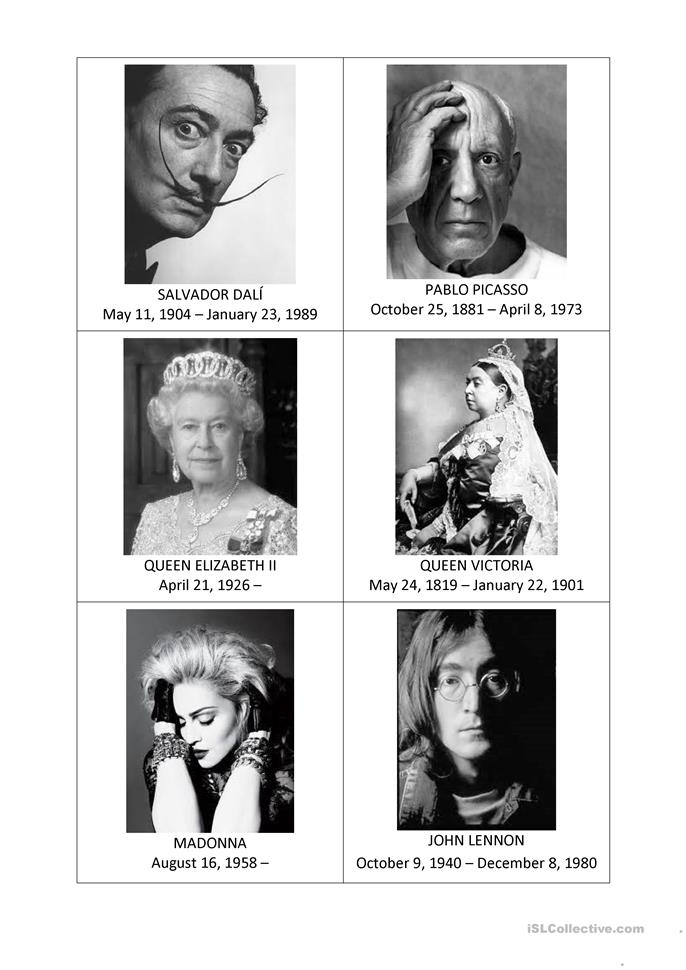 Famous People Speaking Activity Cards - ESL worksheets