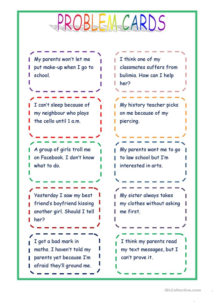 Giving advice - proble... - ESL worksheets