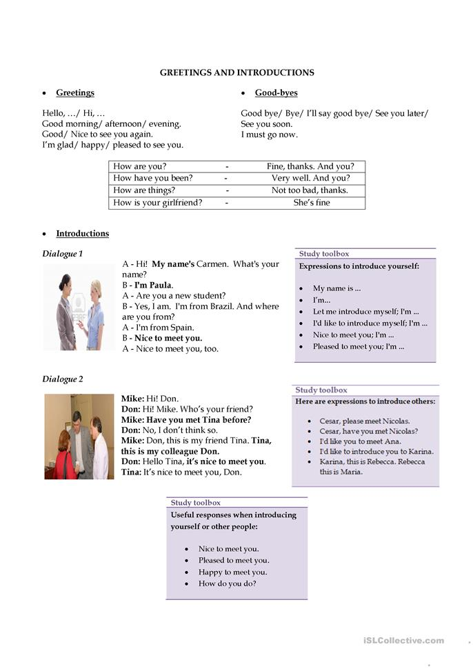 Greetings and introductions - ESL worksheets