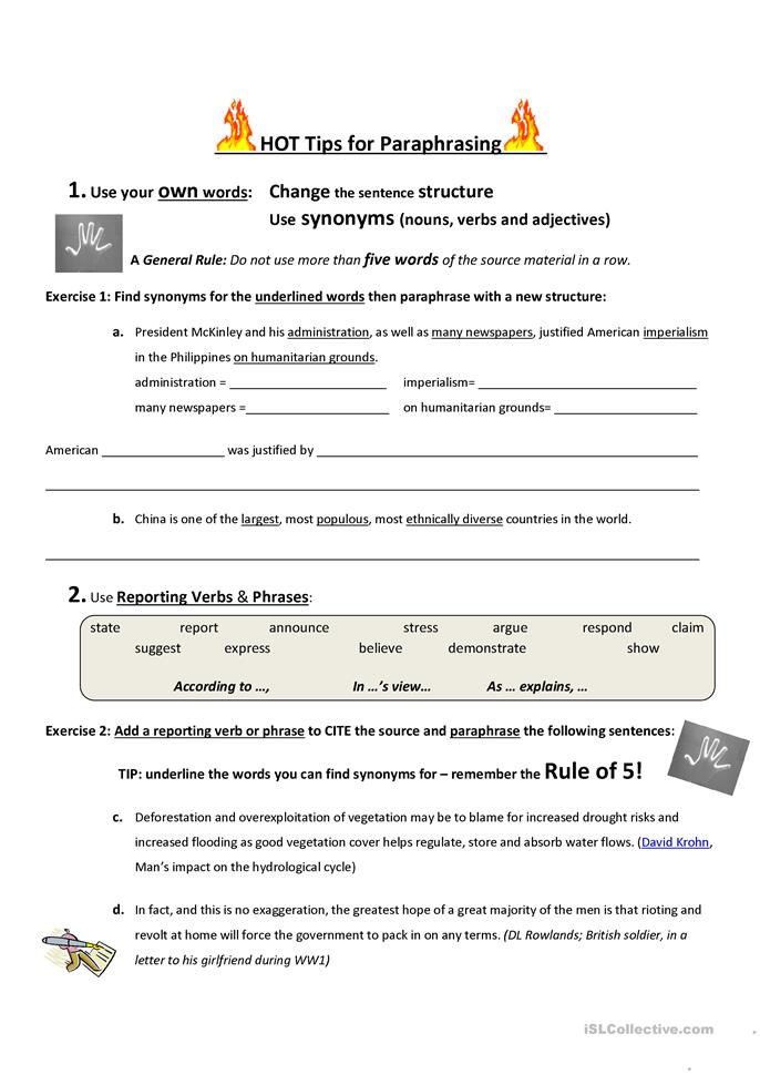 Printables Paraphrase Worksheet 8 free esl paraphrasing worksheets hot tips for paraphrasing