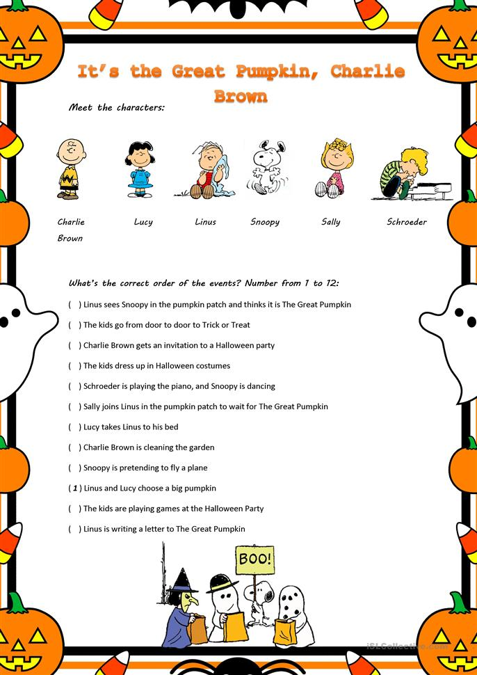 Quot It S The Great Pumpkin Charlie Brown Quot Movie Worksheet