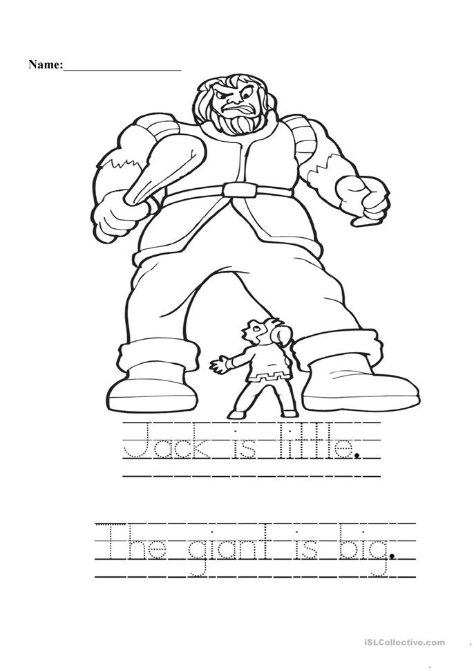 Jack And The Giant Worksheet Free Esl Printable