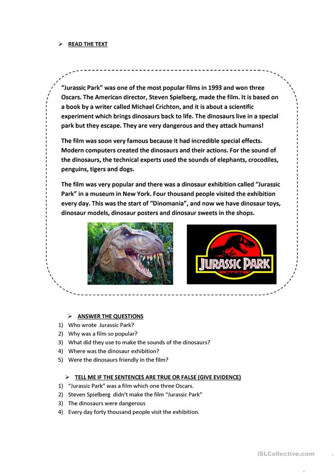 jurassic park worksheet answers. Black Bedroom Furniture Sets. Home Design Ideas