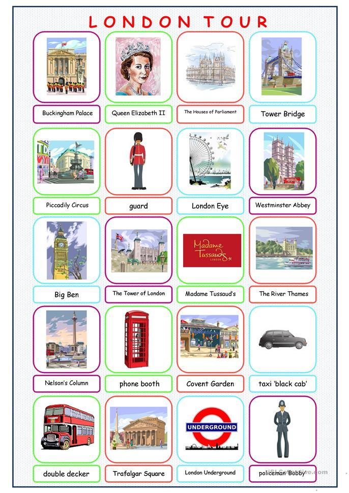 london tour picture dictionary worksheet free esl