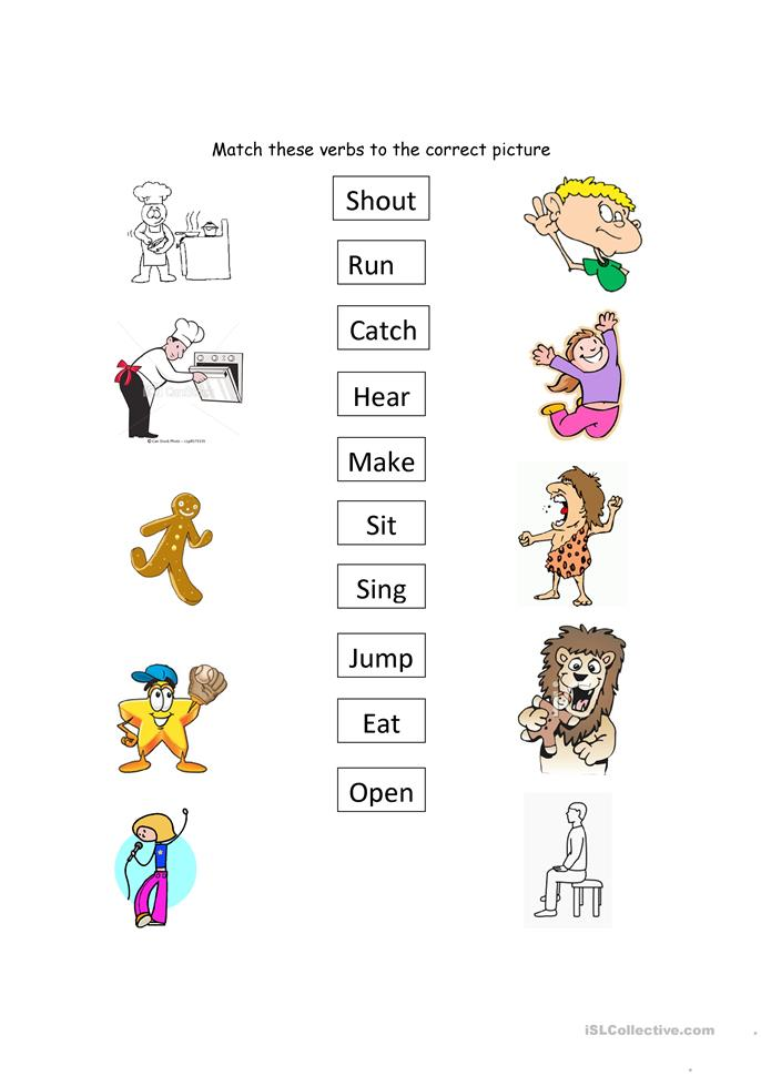 Matching Verbs worksheet - Free ESL printable worksheets made by teachers