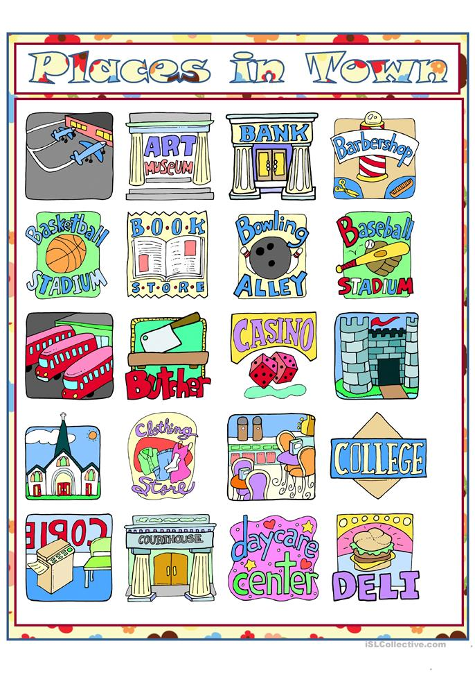 places in town vocabulary worksheet pdf
