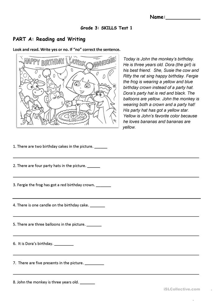 Reading and Listening Test (Birthday ... - ESL worksheets
