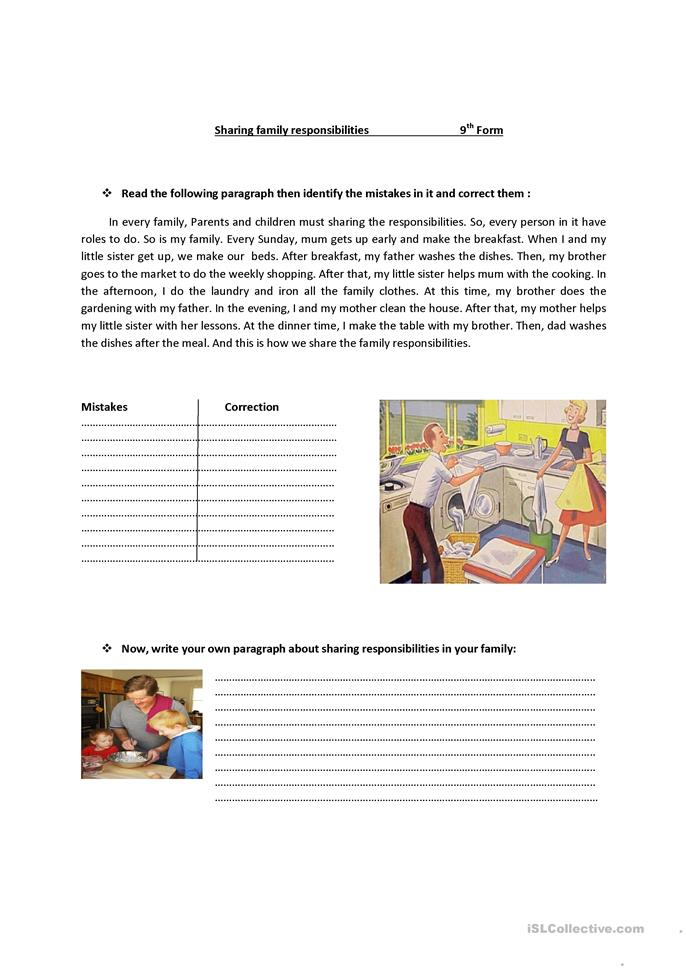sharing family responsabilities - ESL worksheets