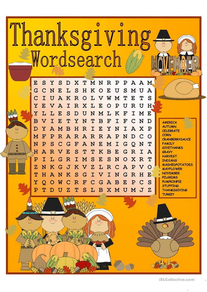 Thanksgiving Wordsearch with KEY - ESL worksheets