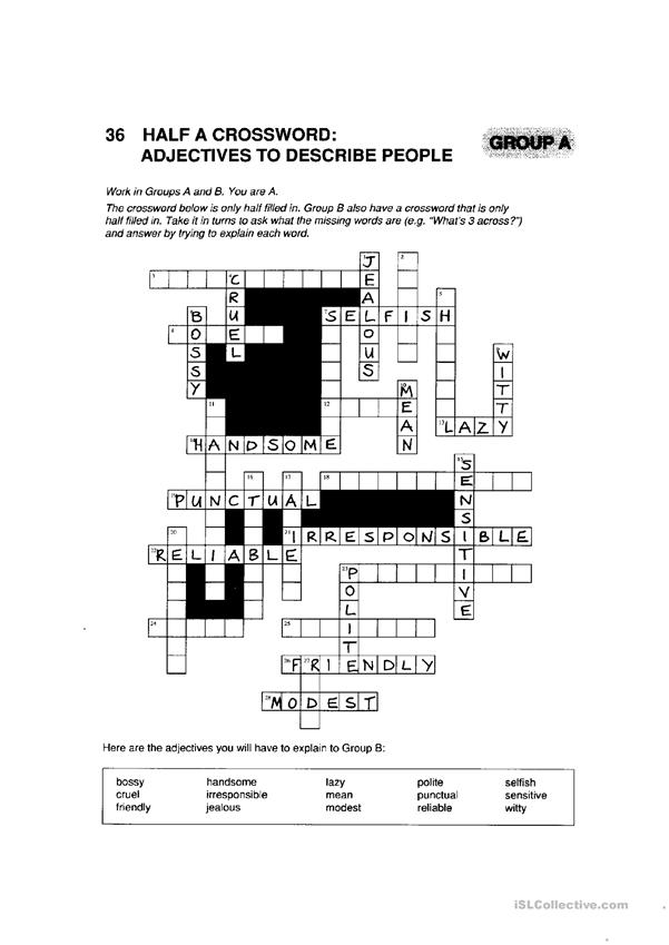 half a crossword - adjectives worksheet - Free ESL ...