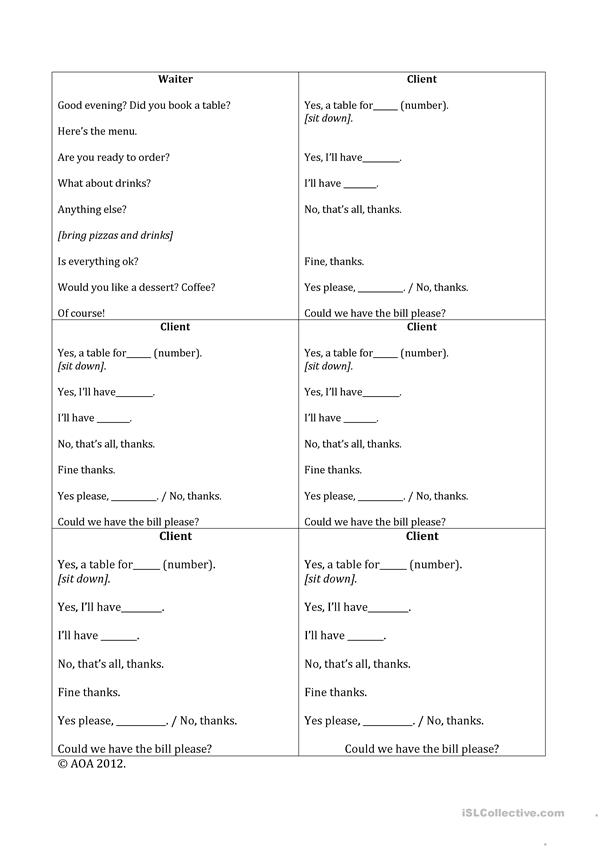 Restaurant role play - English ESL Worksheets