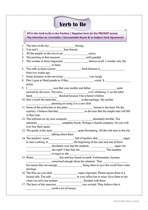 verb to be for advanced students worksheet free esl printable worksheets made by teachers. Black Bedroom Furniture Sets. Home Design Ideas