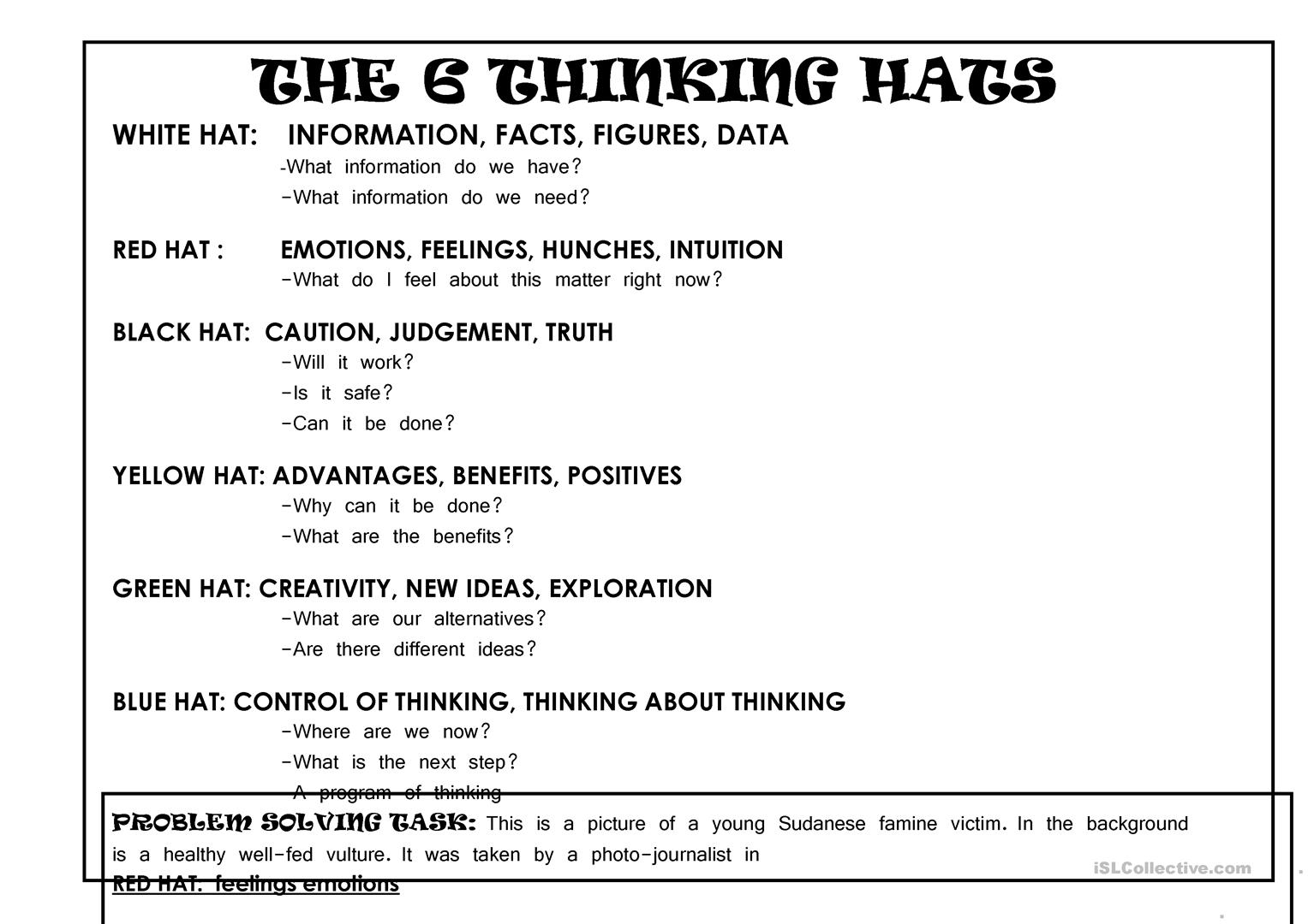 6 Thinking Hats Critical Thinking Lesson