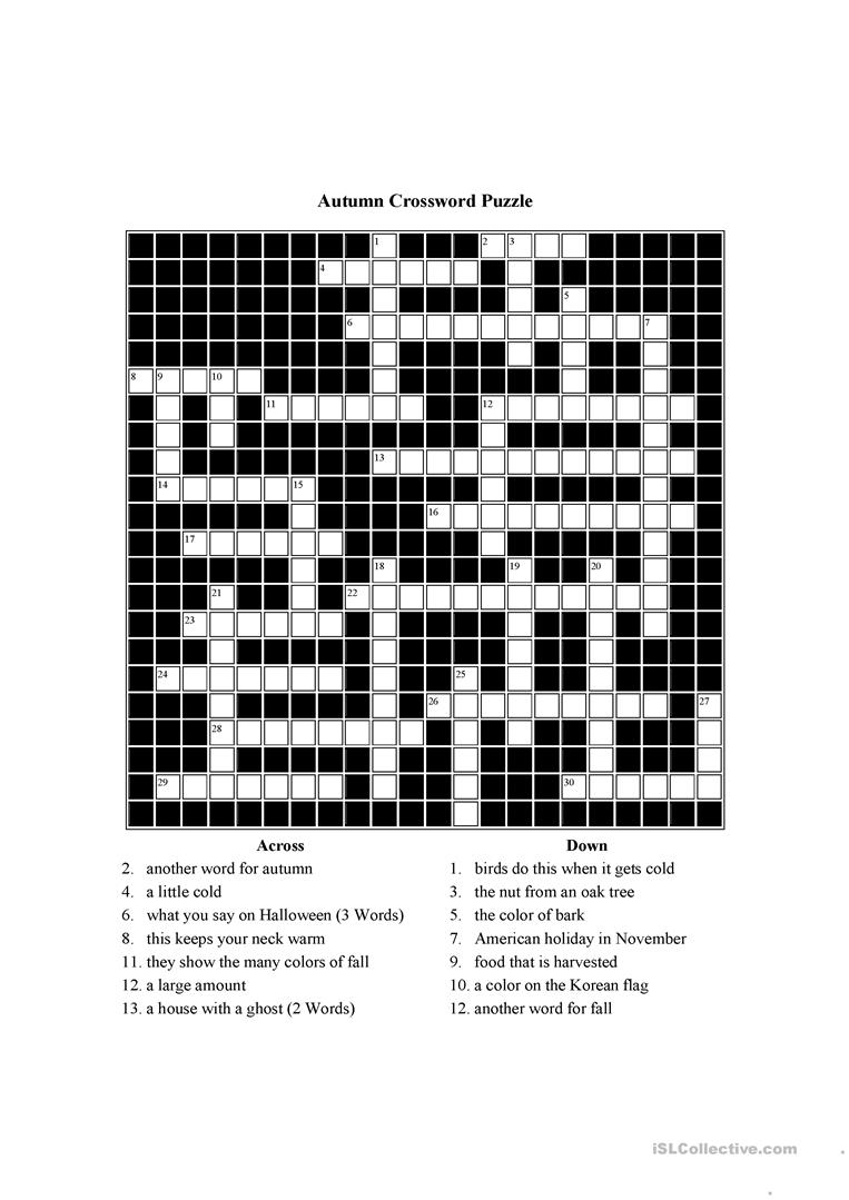 It's just a graphic of Fall Crossword Puzzle Printable with 6th grade