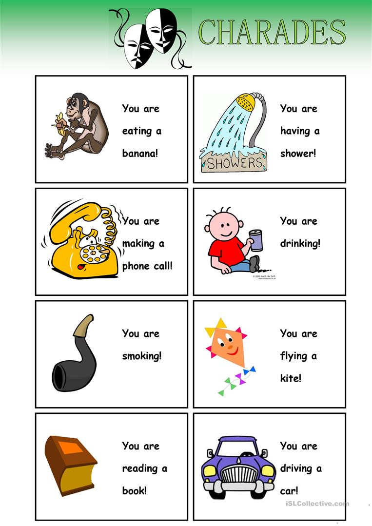 It's just a photo of Fan Charades for Kids Printable