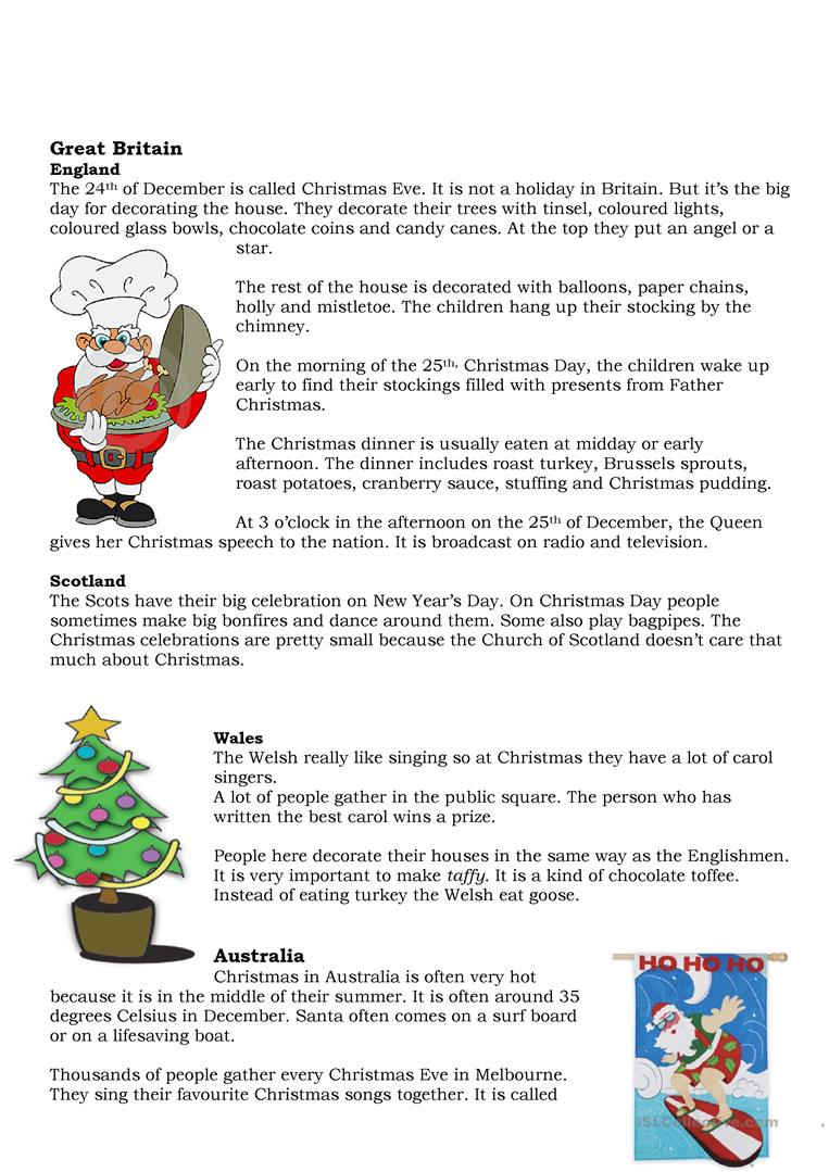 13 FREE ESL Christmas traditions worksheets