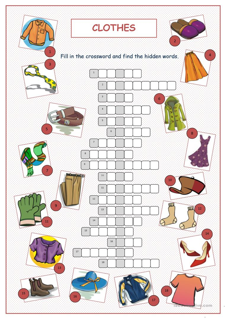 Clothes Crossword Puzzle worksheet - Free ESL printable