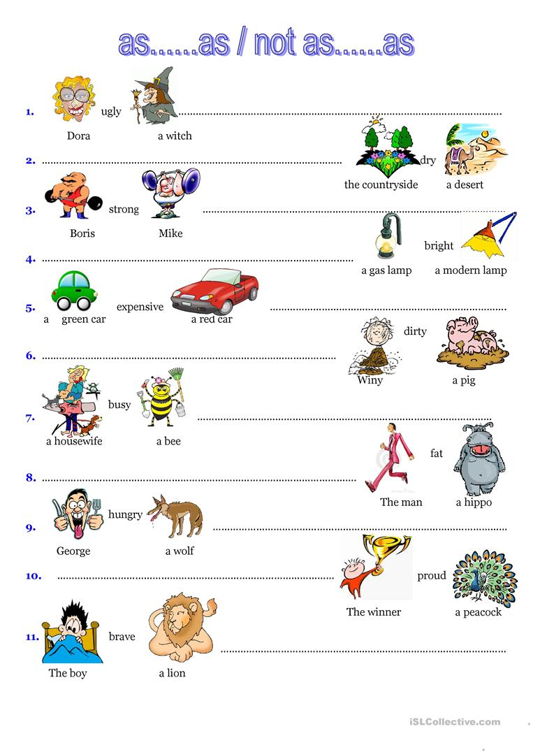 146 Free Esl Comparison Worksheets For Elementary A1 Level