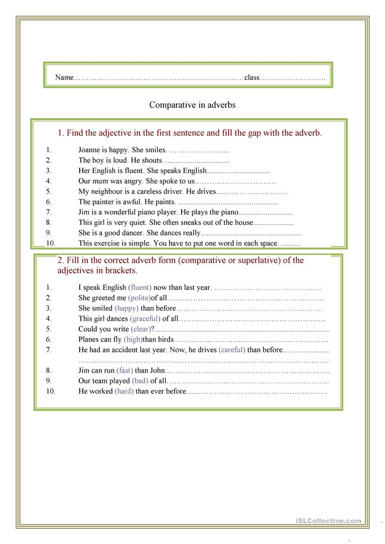 Comparison Of Adverbs English Esl Worksheets For Distance Learning And Physical Classrooms