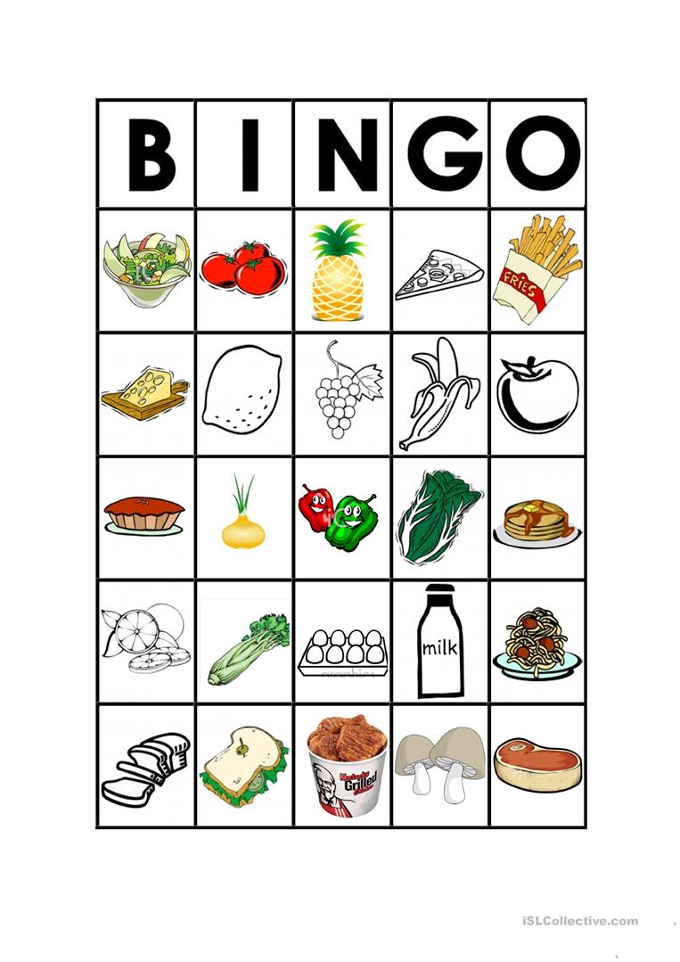 food bingo worksheet